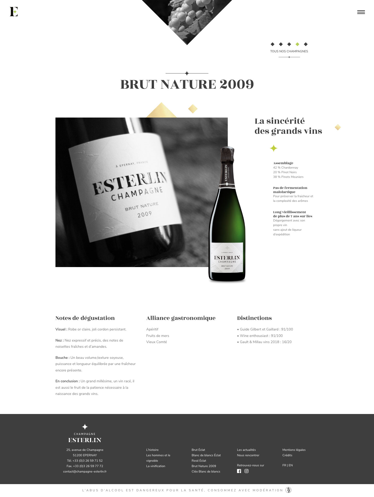 Esterlin Brut Nature 2009 website