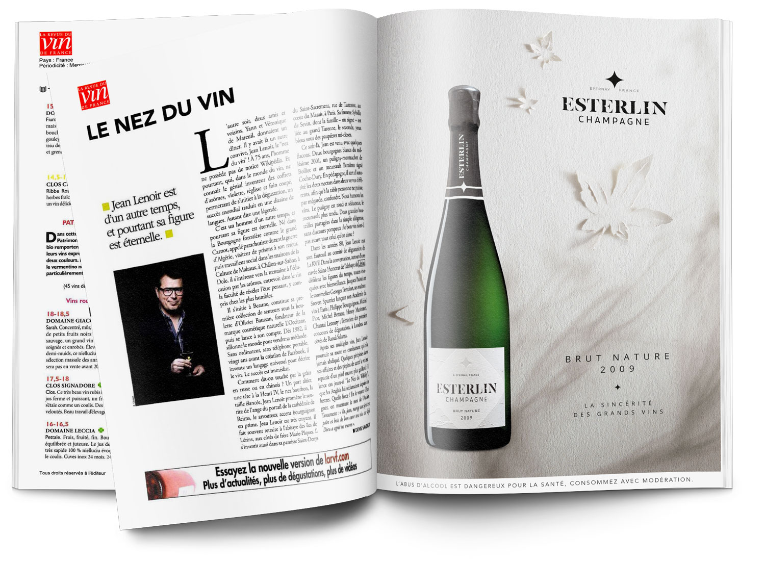 Esterlin Brut Nature 2009 Annonce presse simulation