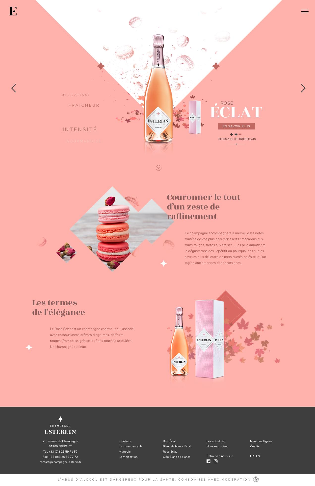 Site Web Esterlin accueil rosé