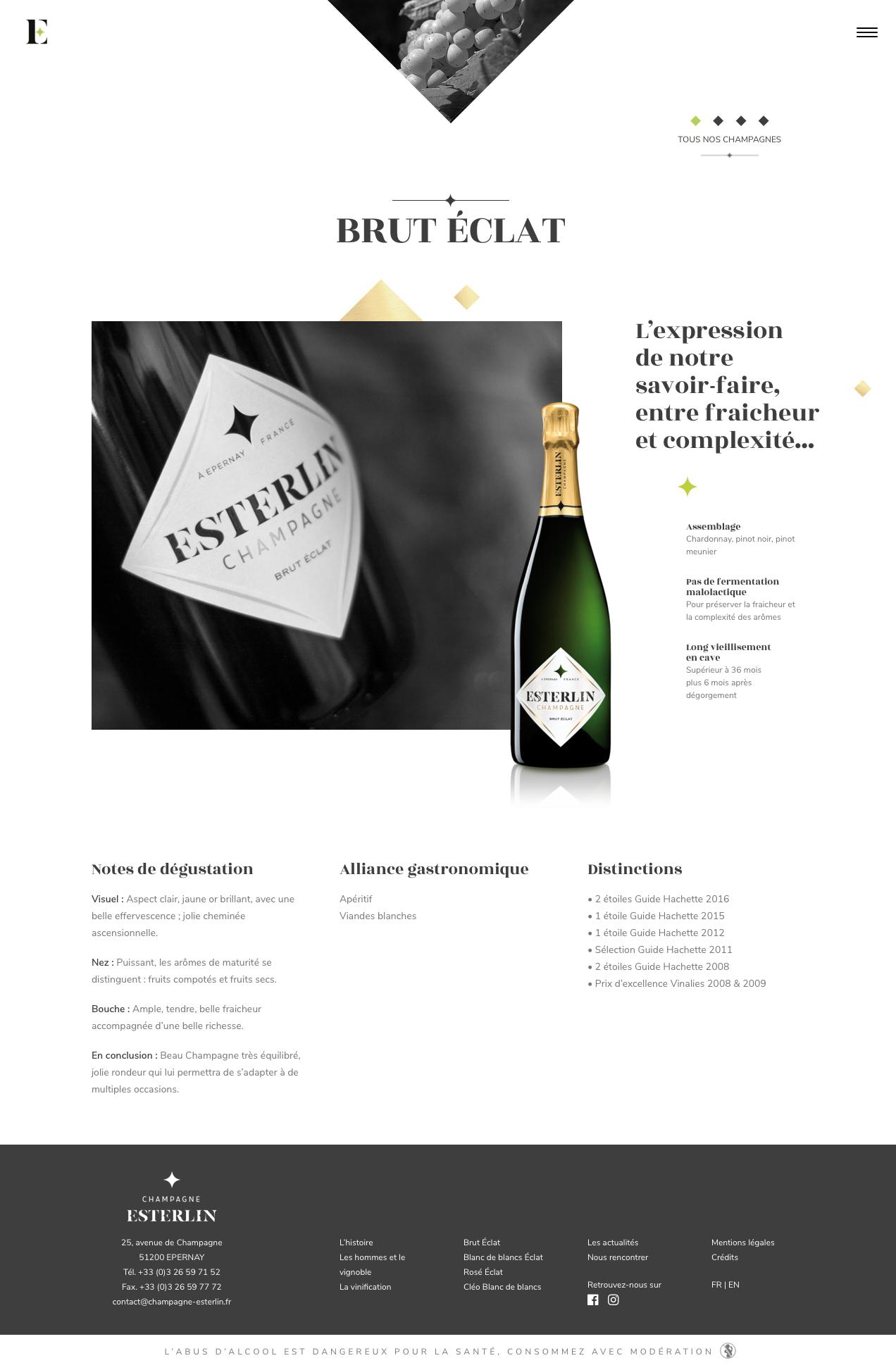 Site Web Esterlin page produit