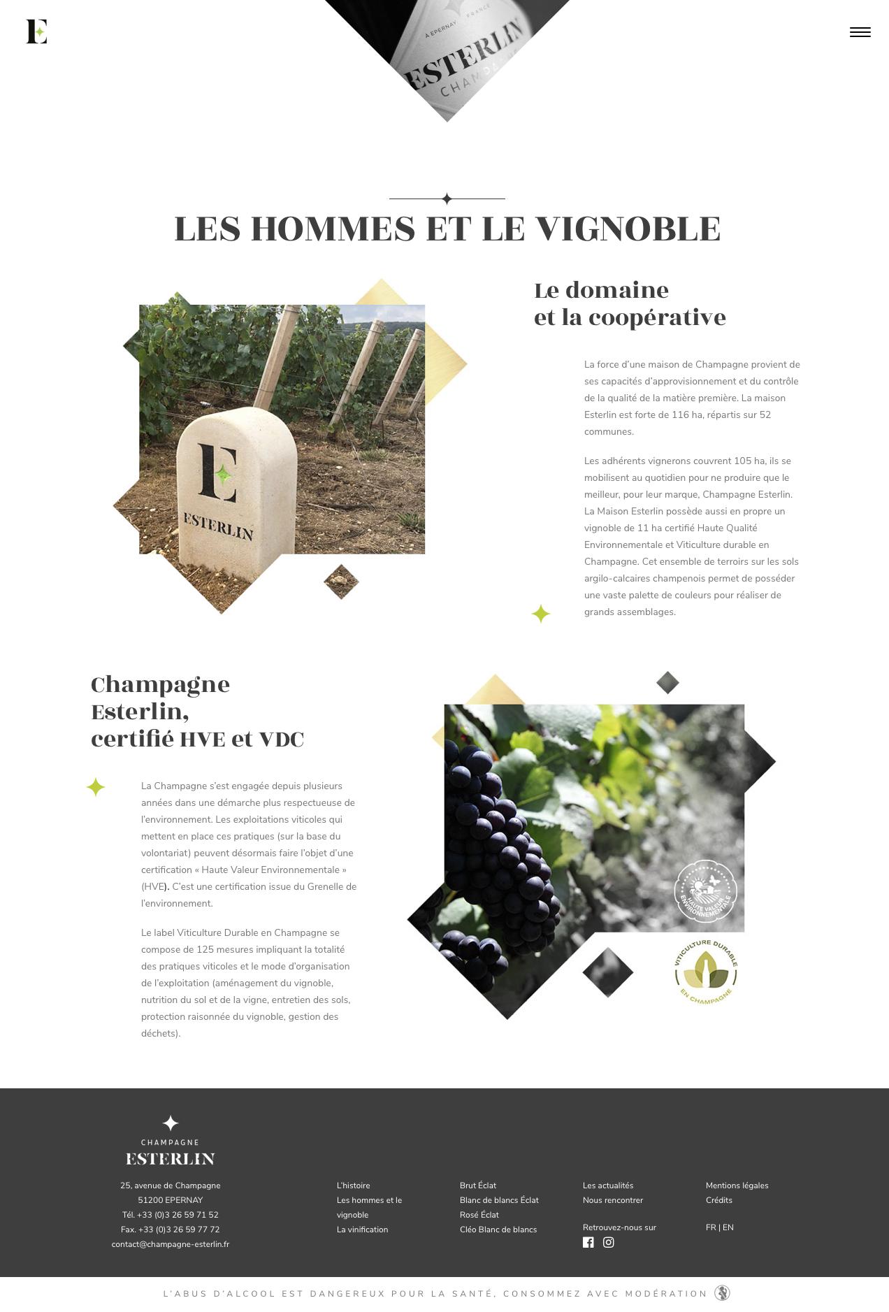 Site Web Esterlin page histoire